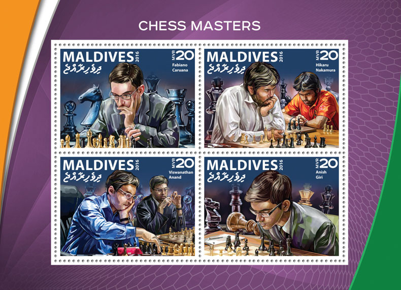 Chess masters - Issue of Maldives postage stamps
