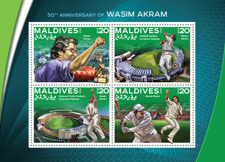 Wasim Akram - Issue of Maldives postage stamps