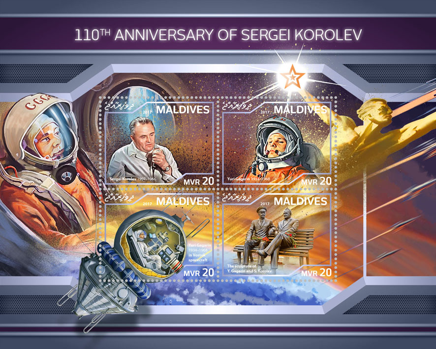 Sergei Korolev  - Issue of Maldives postage stamps