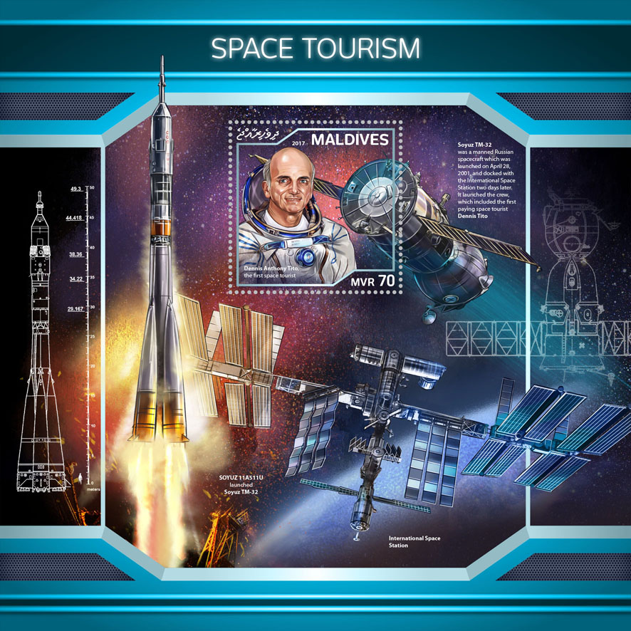 Space tourism - Issue of Maldives postage stamps