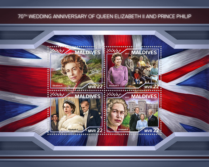 Elizabeth II and Prince Philip - Issue of Maldives postage stamps