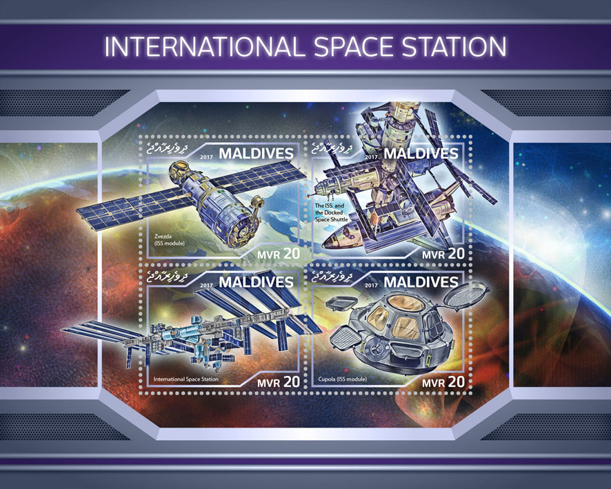 International space station - Issue of Maldives postage stamps