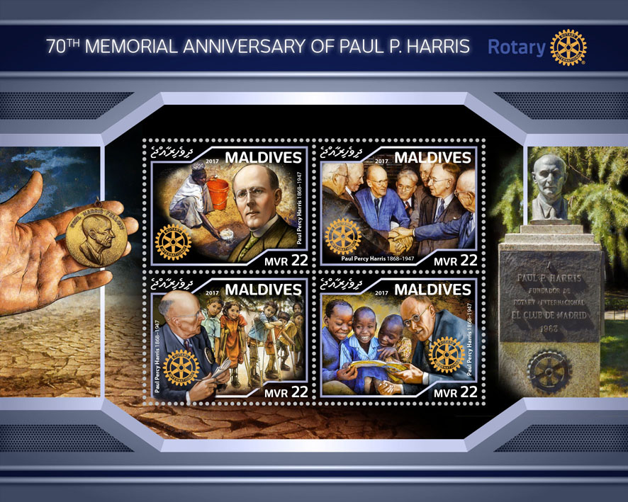 Paul P. Harris, Rotary - Issue of Maldives postage stamps