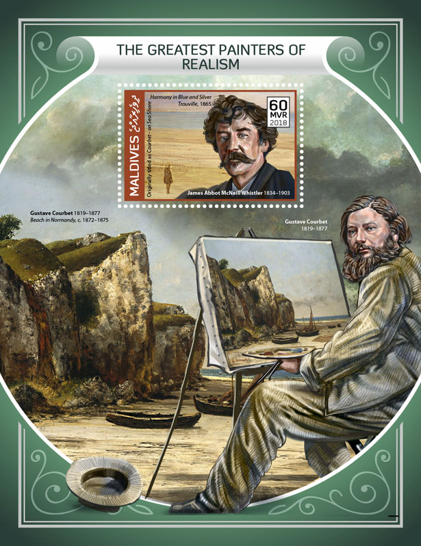 Painters of Realism - Issue of Maldives postage stamps