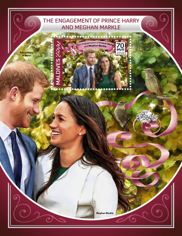 Prince Harry and Meghan Markle - Issue of Maldives postage stamps