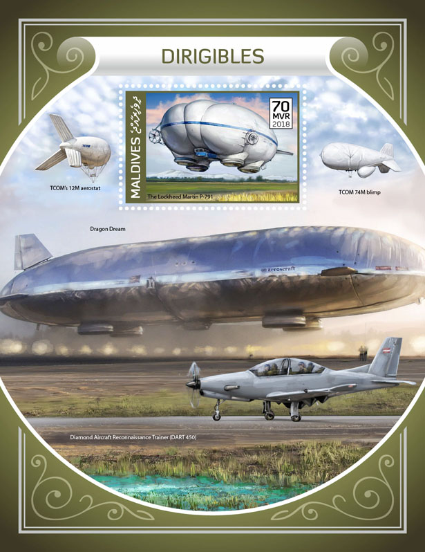 Dirigibles - Issue of Maldives postage stamps