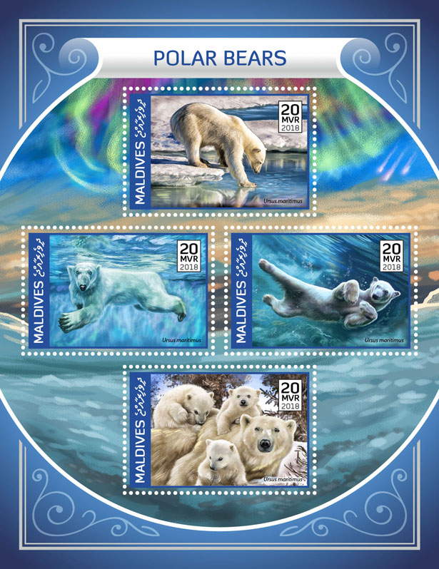 Polar bear  - Issue of Maldives postage stamps