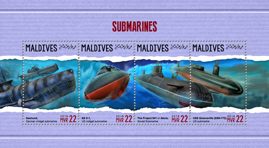 Submarines - Issue of Maldives postage stamps