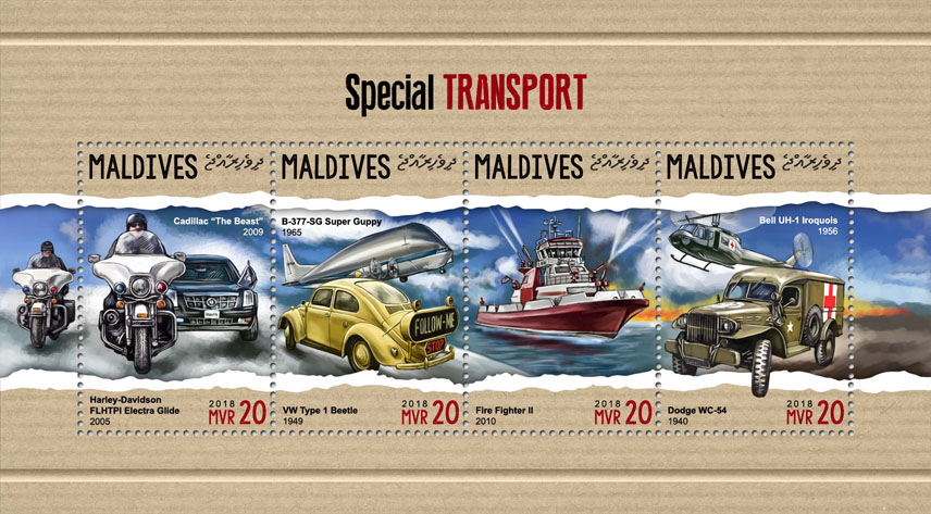 Special transport  - Issue of Maldives postage stamps
