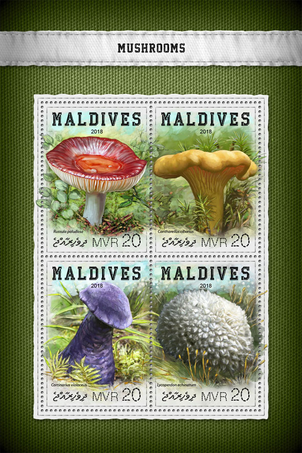 Mushrooms - Issue of Maldives postage stamps