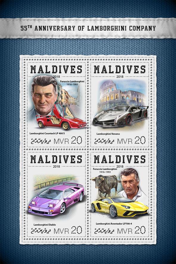 Lamborghini Company  - Issue of Maldives postage stamps