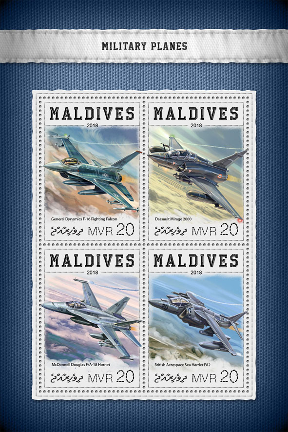Military planes - Issue of Maldives postage stamps