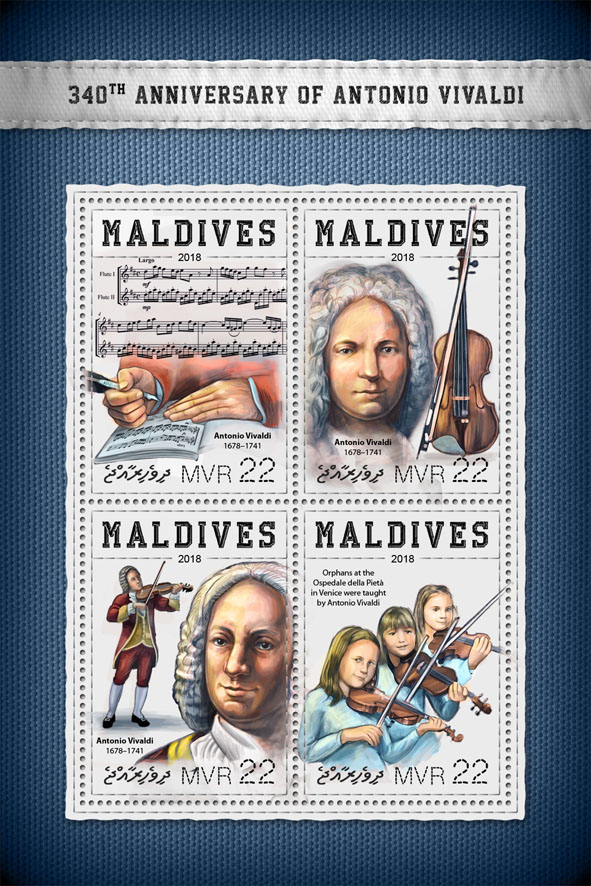 Antonio Vivaldi - Issue of Maldives postage stamps