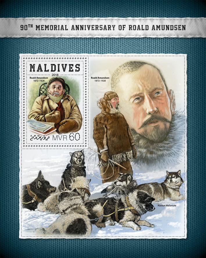 Roald Amundsen - Issue of Maldives postage stamps