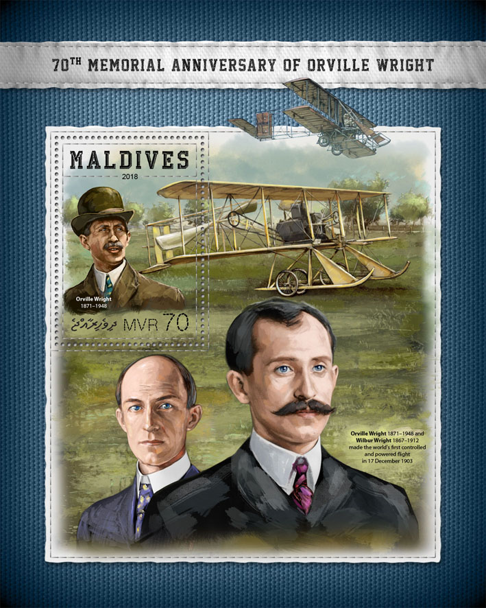 Orville Wright  - Issue of Maldives postage stamps