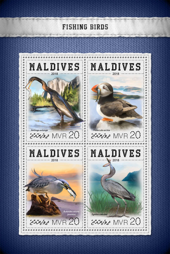 Fishing birds - Issue of Maldives postage stamps