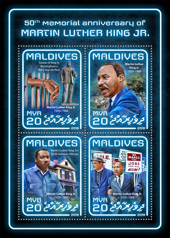 Martin Luther King Jr. - Issue of Maldives postage stamps