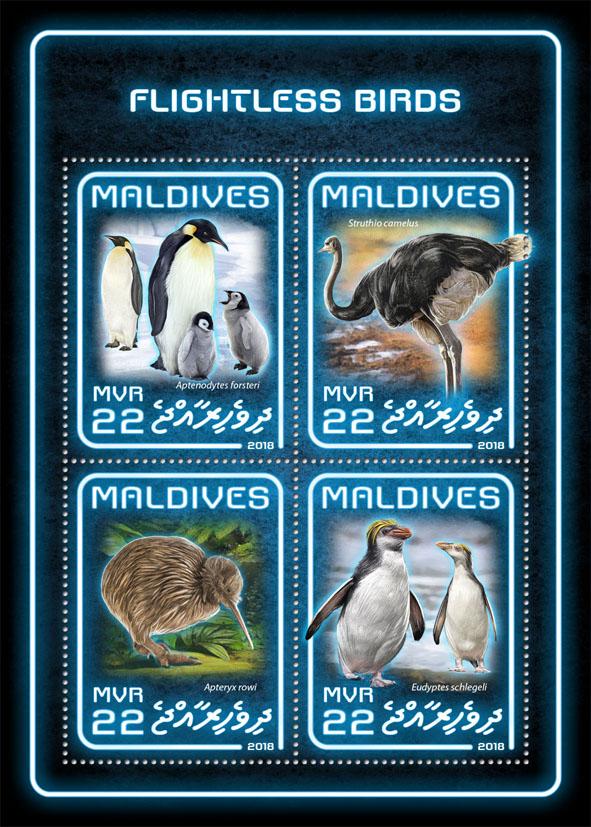 Flightless birds - Issue of Maldives postage stamps