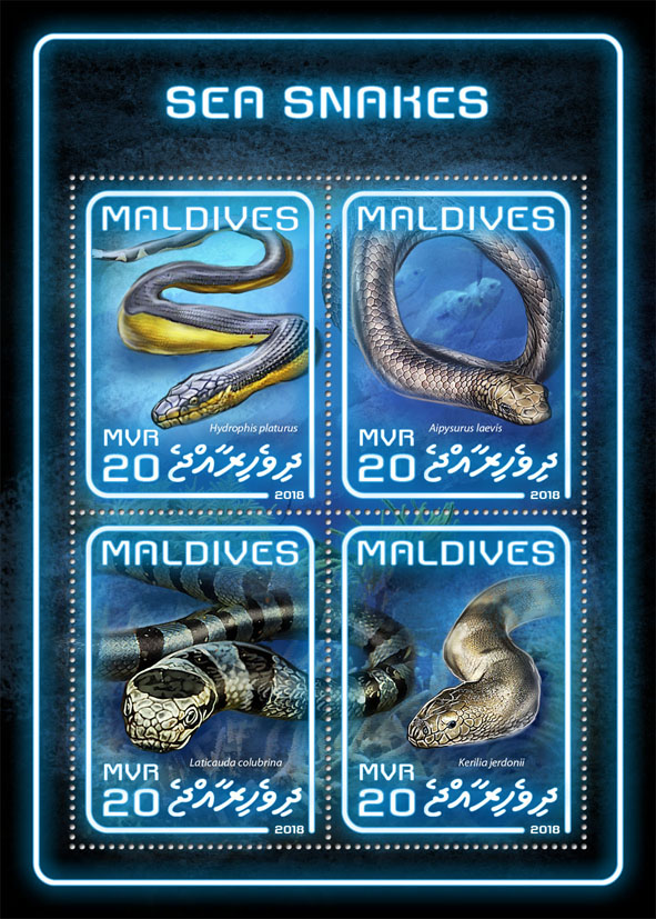 Sea snakes - Issue of Maldives postage stamps