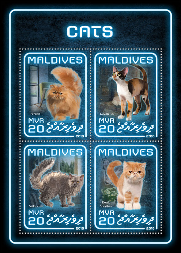 Cats - Issue of Maldives postage stamps