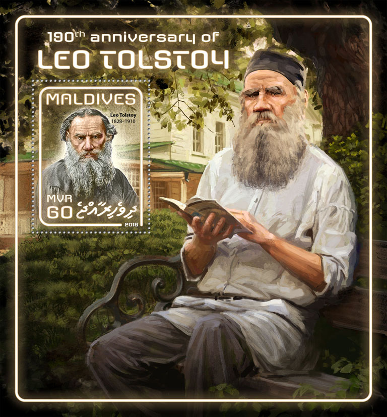 Leo Tolstoy - Issue of Maldives postage stamps