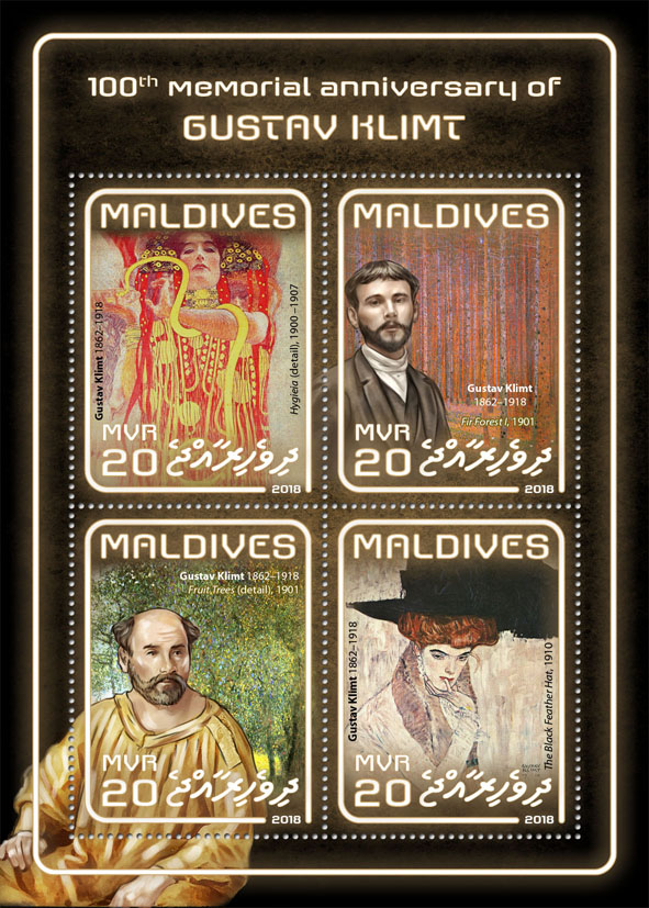 Gustav Klimt - Issue of Maldives postage stamps