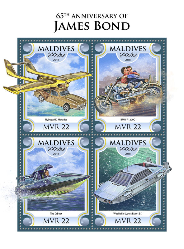 James Bond  - Issue of Maldives postage stamps