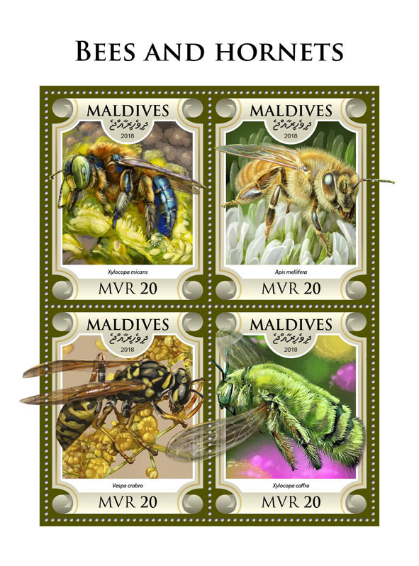 Bees and hornets - Issue of Maldives postage stamps