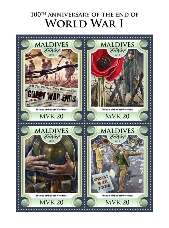 World War I  - Issue of Maldives postage stamps