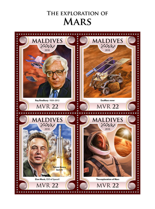 Mars Ray Bradbury - Issue of Maldives postage stamps