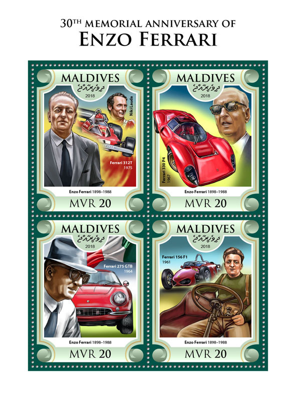 Enzo Ferrari - Issue of Maldives postage stamps