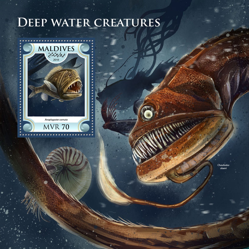 Deep water creatures - Issue of Maldives postage stamps