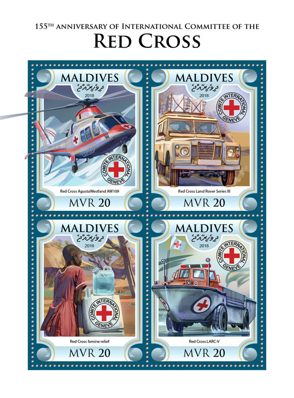 Red Cross - Issue of Maldives postage stamps