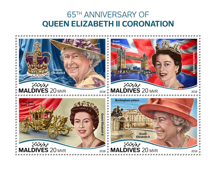 Queen Elizabeth II - Issue of Maldives postage stamps