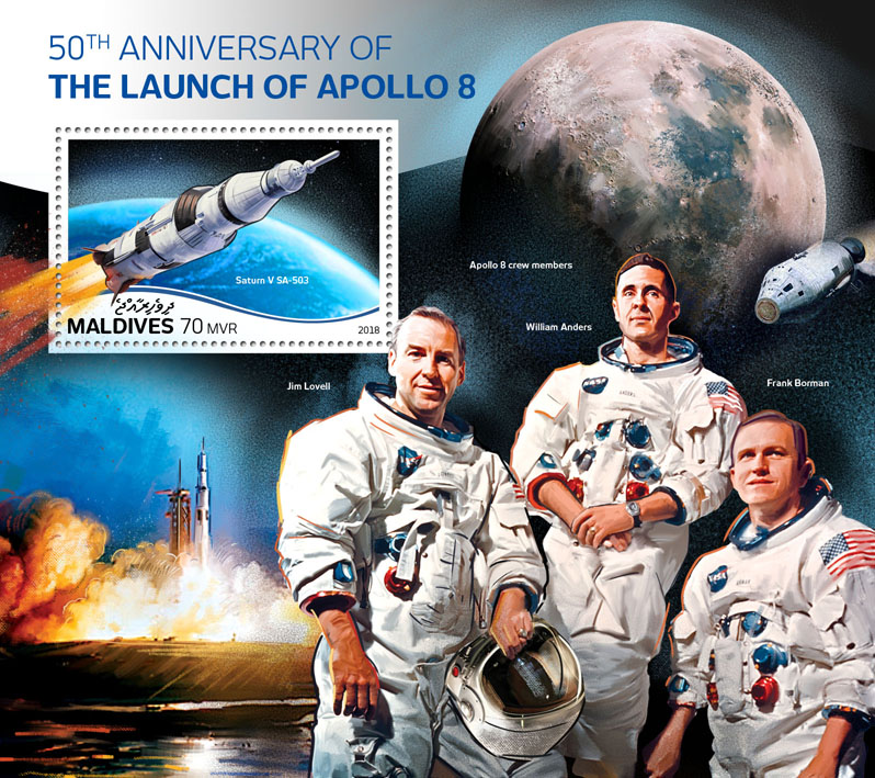 Apollo 8 - Issue of Maldives postage stamps