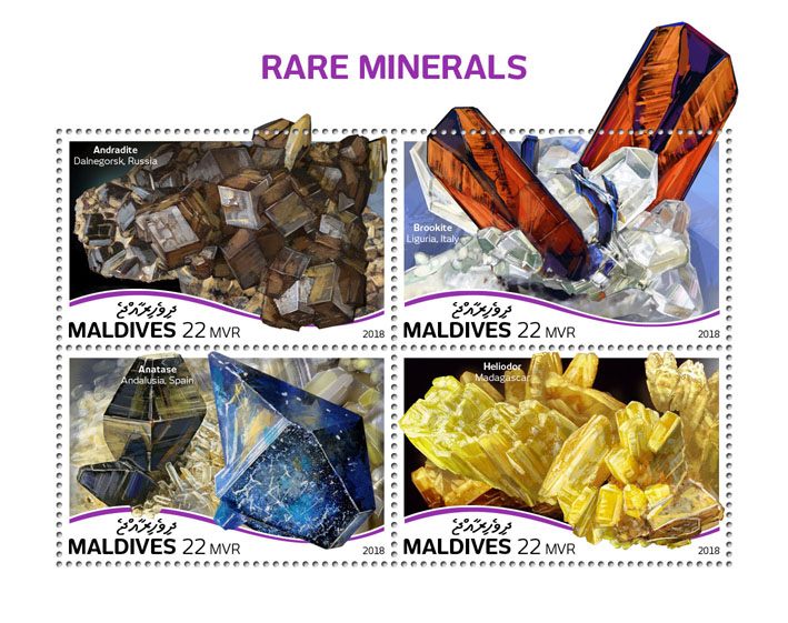 Rare minerals - Issue of Maldives postage stamps