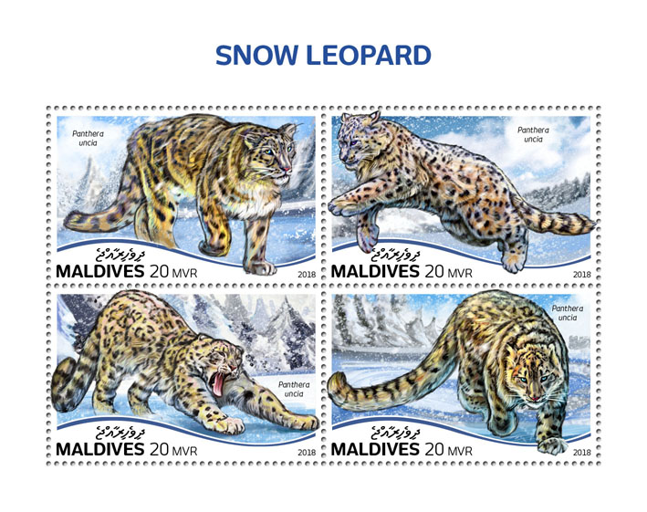 Snow leopard - Issue of Maldives postage stamps