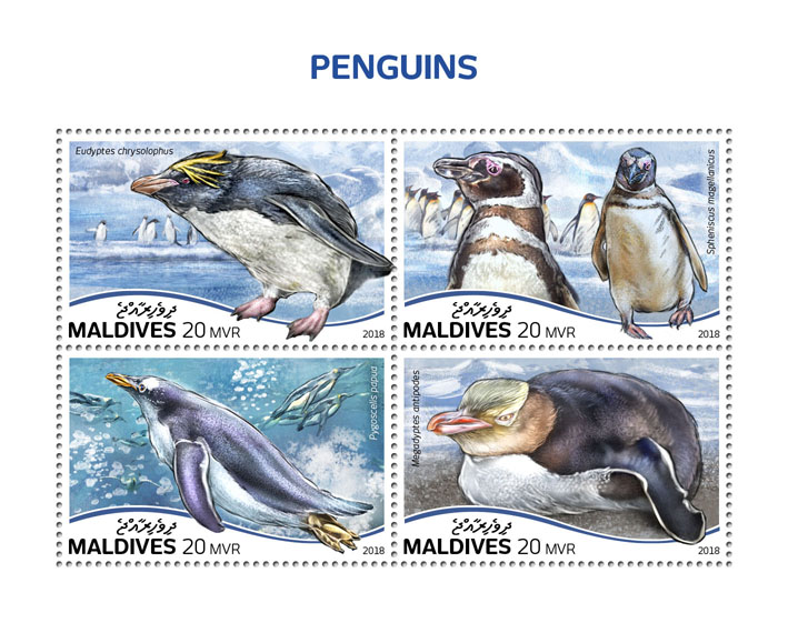 Penguins - Issue of Maldives postage stamps