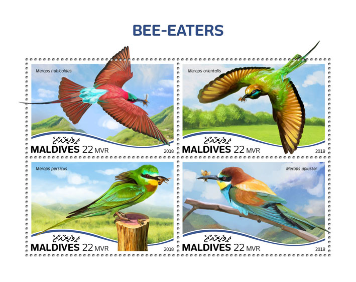 Bee-eaters - Issue of Maldives postage stamps