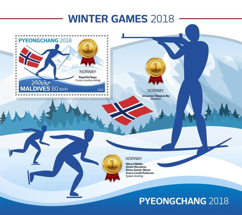 Winter Games 2018 - Issue of Maldives postage stamps