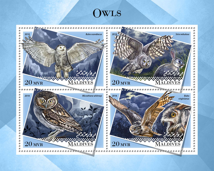 Owls - Issue of Maldives postage stamps