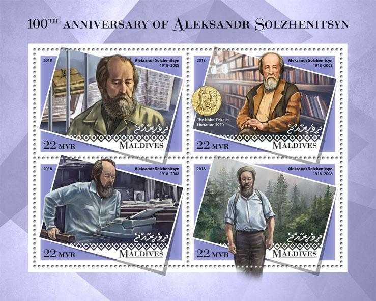 Aleksandr Solzhenitsyn - Issue of Maldives postage stamps