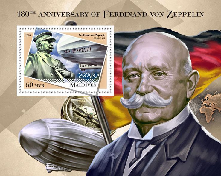 Ferdinand von Zeppelin - Issue of Maldives postage stamps