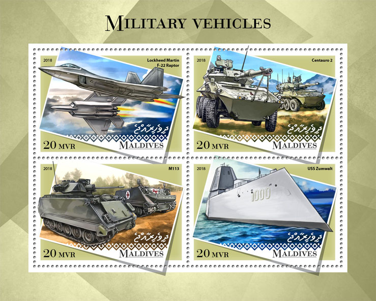 Military vehicles - Issue of Maldives postage stamps