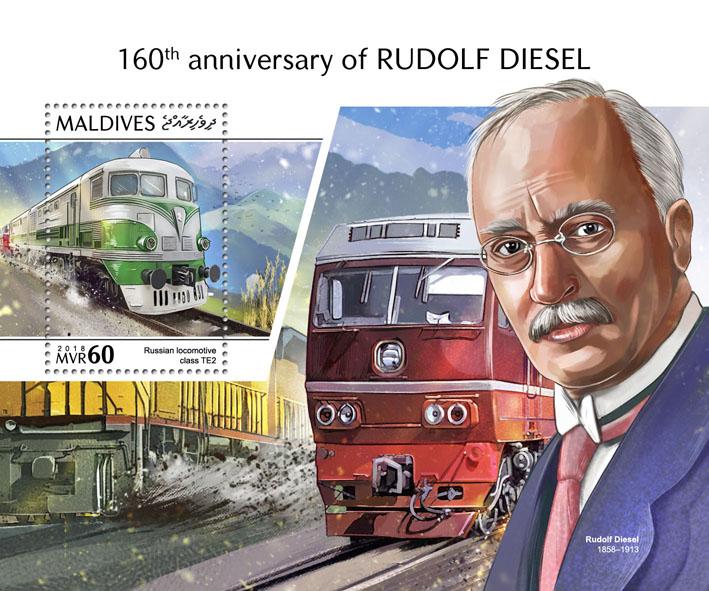 Rudolf Diesel - Issue of Maldives postage stamps