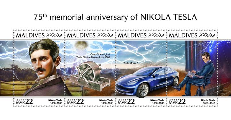 Nikola Tesla - Issue of Maldives postage stamps