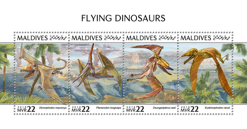 Flying dinosaurs - Issue of Maldives postage stamps