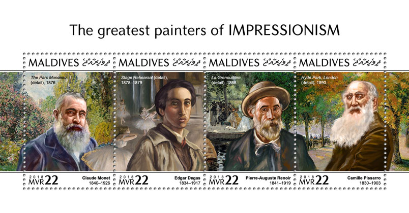 The greatest painters - Issue of Maldives postage stamps