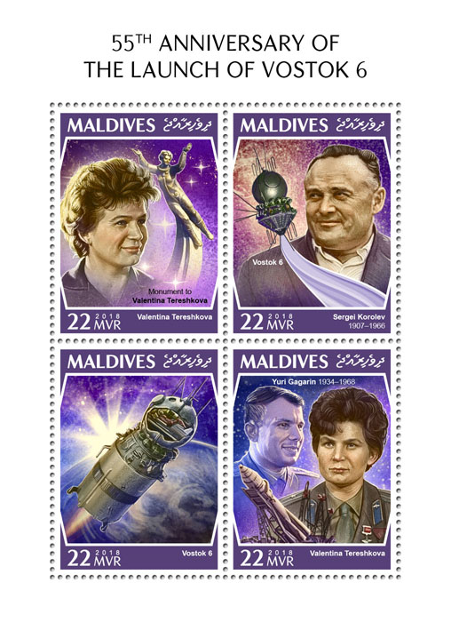 Vostok 6 - Issue of Maldives postage stamps