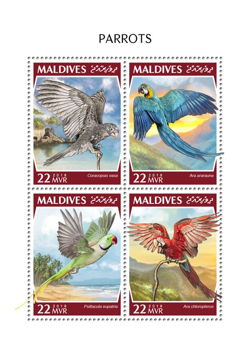 Parrots - Issue of Maldives postage stamps